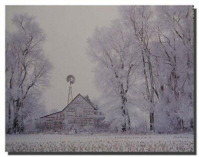 Fog Rural Country Barn Winter Snow Tree Wall Decor Art Print Picture (8x10)