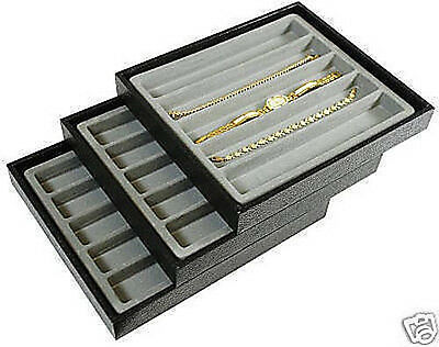 3-5 Slot Jewelry Display Tray Gray Insert Set Bracelet