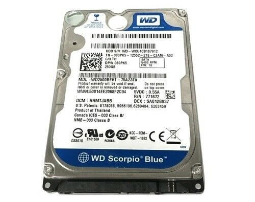 Details about 250GB Western Digital Blue SATA Laptop Hard Drive-W/ Windows  10 Professional