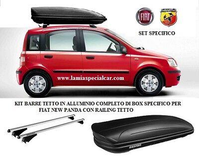 KIT SPECIFICO FIAT PANDA 2 con Barre tetto portapacchi e BOX nero dark da 400 lt