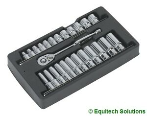 Sealey-Tools-AK66482-Ratchet-Wrench-Socket-Rail-Set-3-8-Drive-6-Six-Point-New