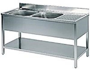 Lavello lavatoio lavandino acciaio inox 2 vasche sx for Lavandino acciaio inox