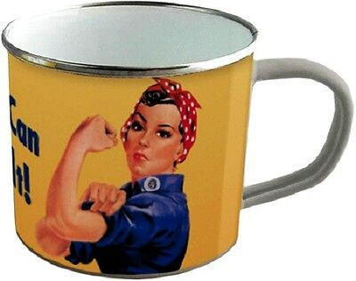 We Can Do It ! Blechtasse Emaille Becher Tasse 8 x 8 cm