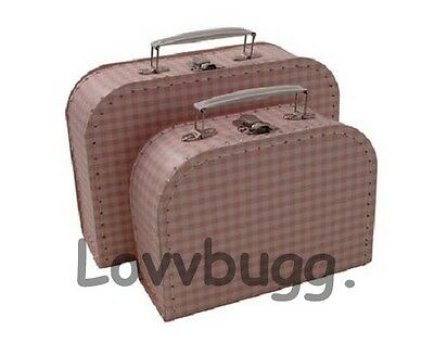 "Lovvbugg Pink Gingham Trunk Suitcase for 18"" American Girl Doll Accessory"