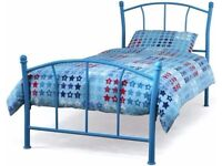 New Penny Blue Bed Frame with Mattress