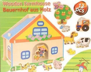 ferme 13 pieces jeu jouet en bois enfant animaux neuf puzzle 3d 255 ebay. Black Bedroom Furniture Sets. Home Design Ideas