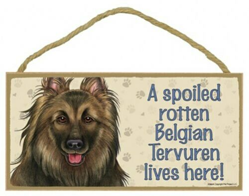 "A Spoiled Rotten Belgian Tervuren lives here! Dog Sign 5""x10"" Wood Plaque 918"