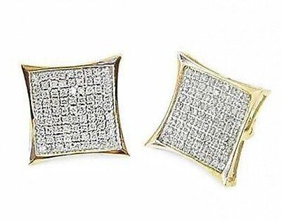 (10K Yellow Gold Diamond Earrings .45ct Micro Pave Screw Backs Big Look Men Size)