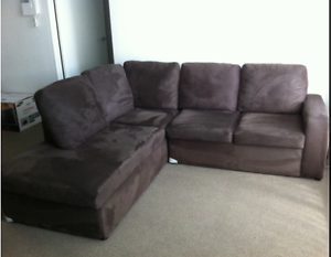 L-shaped Brown fabric Sofa Homebush West Strathfield Area Preview