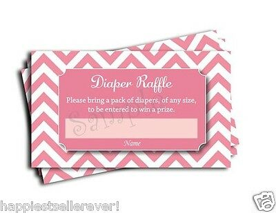 Pink Chevron Printed Diaper Raffle Tickets Girl Baby Shower Games (50-cards) - Baby Shower Diaper Raffle