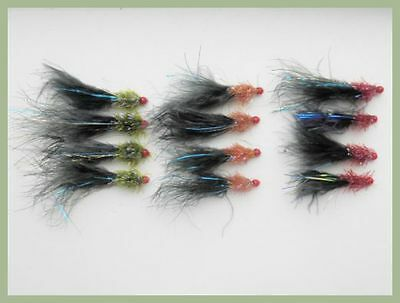 Ally McCoist Fishing Flies, 12 Pack Size 10, Three Colours, For Fly Fishing - Coloured Streamers