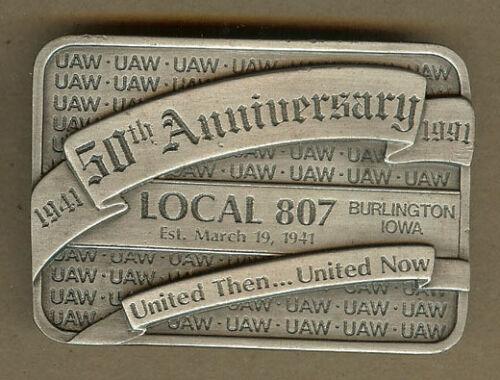 1941-1991 UAW 50th Anniversary Local 807, Burlington, Iowa IA Belt Buckle