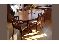 G Plan teak oval dining table and chairs
