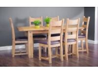 Oak Dining table & 6 chairs - brand new