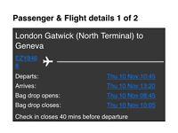Flight tickets for sale - Gatwick London to Geneva 10/11 - 13/11