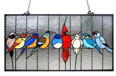 Birds Design Stained Glass Hanging Window Panel Tiffany Style Suncatcher (Birds Stained Glass)