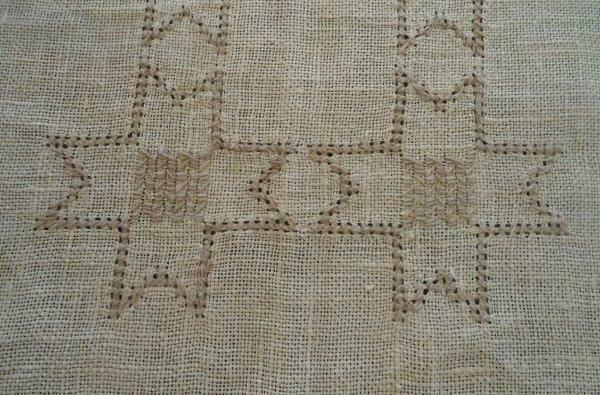 Vintage Italian Linen Tablecloth Embroidered Stars Cutwork Ecru 49""