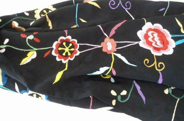 "Large Vintage Black Silky Embroidered Piano Scarf 17"" Fringe Canton Shawl"