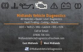 Midlands Vehicle Diagnostics - Read and clear faults. Airbag , engine management, service lights etc