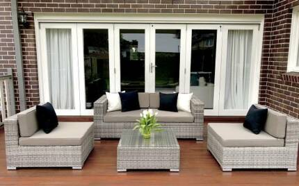 WICKER LOUNGE SETTING, MODULAR ,5 CONFIGURATIONS, VINTAGE GREY