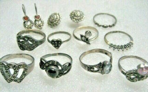 /Vintage Russian 925 Silver sterling 9 Rings and 2 earrings sets