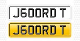 Private Registration Plate J600RDT JORDAN