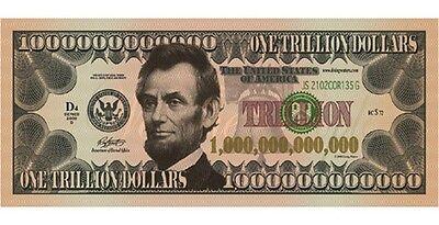 100 Abraham Lincoln 1 Trillion Dollar FAKE Play Funny Money Bill w/Gospel Tract - Play Money 100 Dollar Bills