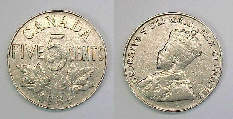 1934 Canadian Nickel Canada Five Cents  F - VF  Fine - Very Fine