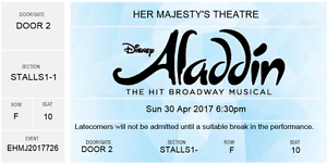 Disney Aladdin Broadway Musical - 2 tickets for Sunday 30 April Heidelberg Heights Banyule Area Preview