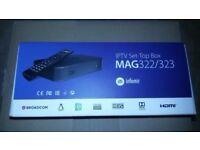 MAG 322/323 LATEST Linux Box ORIGINAL INFOMIR H265 (HEVC) / OPENBOX - 12 MTHS MANUFACTURER