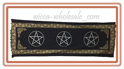 PENTAGRAM Pentacle ALTAR CLOTH 22 x 72 inchs Black Wiccan Witch Pagan HUGE