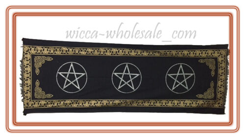 PENTAGRAM Pentacle ALTAR CLOTH 22 x 72 inchs Black Wiccan Witch Pagan HUGE