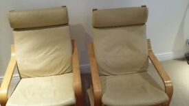2 IKEA POANG LEATHER CHAIRS and MATCHING FOOT REST