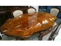 Italian style dining table and 6 cushioned chairs
