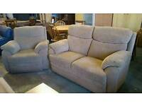 2 seater sofa with reclining armchair
