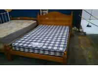 Pine double bed frame with ariel mattress
