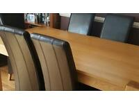 Solid Oak Table and 6 Leather chairs