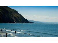 Chalet / caravan with sea view to rent Clarach Bay holiday beach village Aberystwyth Wales sleep 6