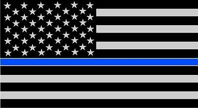 """TWO-3""""x5""""  Fallen Officer Thin Blue Line American Flag Reflective Decal Sticker"""