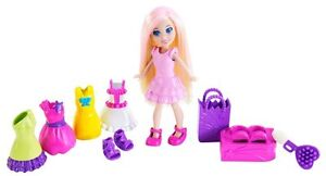 NRFB Polly Pocket Color Change fashion pack - rooted blonde w pink streaked hair