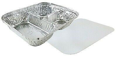 3-compartment Oblong Aluminum Foil Take-out Container Wboard Lid Pans 250 Sets