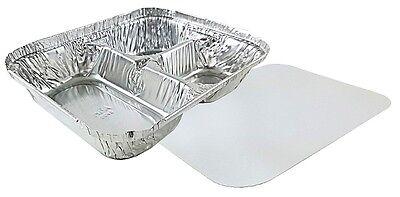 3-compartment Oblong Aluminum Foil Take-out Container Wboard Lid Pans 250 Sets