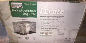 Folding Adjustable double door dog crate