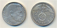 2 Reichmark from WWII Germany. Swatzika silver coin.