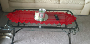 Glass coffee table/matching end tables