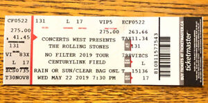 Concert ticket for The Rolling Stones in Seattle, Aug 14, 2019