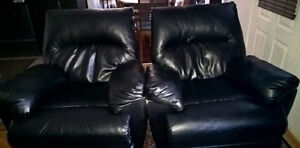 Two leather recliners black