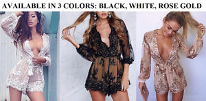 BRAND NEW Deep Plunge V-Neck Long Sleeved Beaded Sequin Playsuit Cambridge Kitchener Area image 2