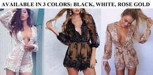 BRAND NEW Deep Plunge V-Neck Long Sleeved Beaded Sequin Playsuit