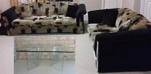 SOFA, LOVE SEAT & 4 ACCENT PILLOWS + COFFEE TABLE